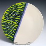 Plate with Blue & Green Stripes / Ann Lindell