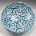 Serving Bowl with Blue Spirals / Ann Lindell