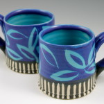 Cups with Blue Leaves & Piano Key Stripes / Ann Lindell