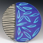 Luncheon Plate with Blue Leaves & Piano Key Stripes / Ann Lindell