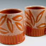 Cups with Orange Leaves & Stripes/Ann Lindell